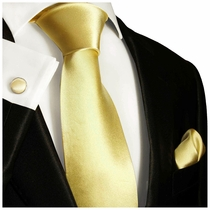 Solid Mellow Yellow Silk Tie Set by Paul Malone