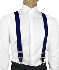 Solid Navy Blue Men's Suspenders