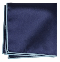 Solid Navy Pocket Square with Light Blue Rolled Border