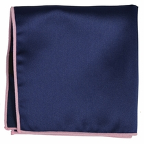 Solid Navy Pocket Square with Pink Border