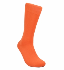 Solid Orange Cotton Dress Socks by Paul Malone