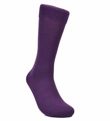 Solid Plum Cotton Dress Socks by Paul Malone