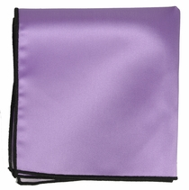 Solid Purple Pocket Square with Black Border