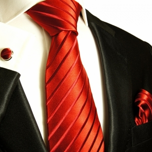 Solid Red Paul Malone Silk Tie Set (441CH)