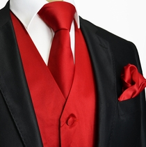Solid Red Tuxedo Vest and Accessories (Q10-N)