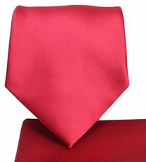 Solid Ruby Red Necktie and Pocket Square (Q100-W)