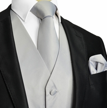 Solid Silver Tuxedo Vest and Accessories (Q10-Q)