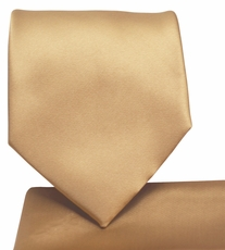 Solid Tan Necktie and Pocket Square (Q100-T)