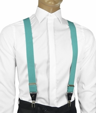 Solid Turquoise Men's Suspenders