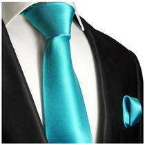 Solid Turquoise Silk Tie and Pocket Square by Paul Malone