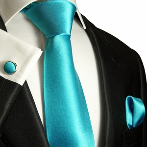 Solid Turquoise Silk Tie Set by Paul Malone