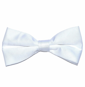 Solid White Bow Tie . Pre-Tied (BT10-A)