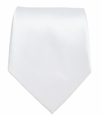 Solid White Boys Zipper Tie