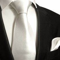 Solid White Necktie and Pocket Square Set