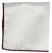 Solid White Pocket Square with Dark Red Border