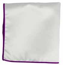 Solid White Pocket Square with Magenta Border