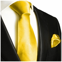 Solid Yellow Necktie and Pocket Square Set (Q100-J)