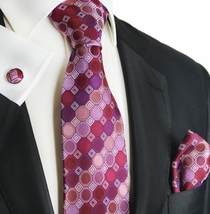 Sparkling Grape Silk Tie and Square by Paul Malone