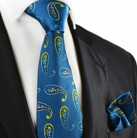 Storm Blue Paisley Tie and Pocket Square by Paul Malone