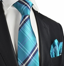 Storm Blue Plaid Men's Tie and Pocket Square