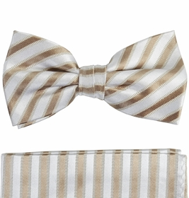 Striped Bow Tie and Pocket Square Set . Tan and Cream , 100% Silk (BT694H)