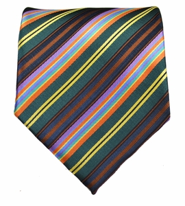 Striped Men's Necktie . Teal