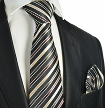 Striped Men's Tie and Pocket Square
