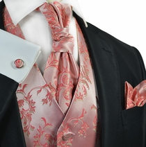 Sugar Coral Tuxedo Vest Set by Paul Malone
