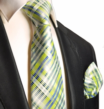 Summer Green and Blue Silk Tie Set . Paul Malone