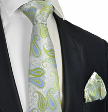 Summer Green Paisley and Blue Tie and Pocket Square