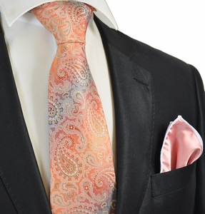 Summer Orange Paisley Tie with Contrast Rolled Pocket Square Set