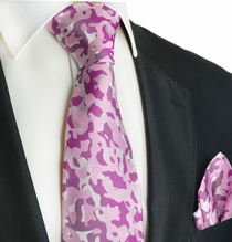 Sweet Lilac and Purple Silk Tie Set by Paul Malone