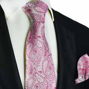Sweet Lilac Paisley Silk Tie Set by Paul Malone