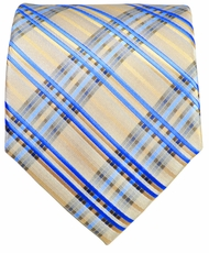 Tan and Blue Men's Necktie