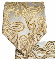Tan Paisley Mens Tie and Pocket Square