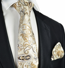 Tan Paisley Tie and Pocket Square