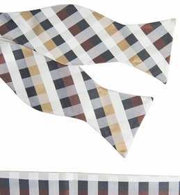 Tan Plaid Silk Bow Tie and Pocket Square by Paul Malone (BT561H)