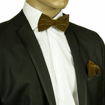 Tan Velvet Bow Tie and Pocket Square Set