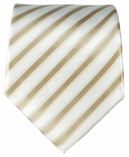 Tan & White Striped Paul Malone Silk Necktie (694)