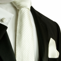 White Silk Necktie Set by Paul Malone (598CH)
