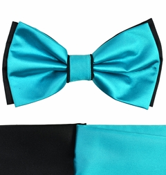 Turquoise and Black Bow Tie with 2 Pocket Squares