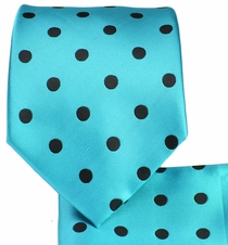 Turquoise and Black Necktie and Pocket Square