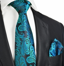Turquoise and Black Necktie and Pocket Square Set (Q600-Z)