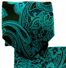 Turquoise and Black Paisley Necktie Set (Q569-B)