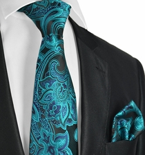 Blue Coral and Black Paisley Mens Tie Set