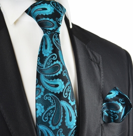 Turquoise and Black Paisley Silk Tie Set by Paul Malone