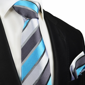 Turquoise and Grey Silk Tie and Pocket Square by Paul Malone