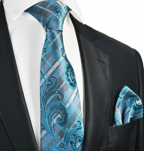 Turquoise and Grey Tie and Pocket Square Set
