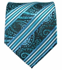 Turquoise and White Mens Tie