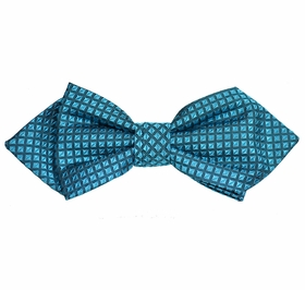 Turquoise Checked Silk Bow Tie by Paul Malone Red Line